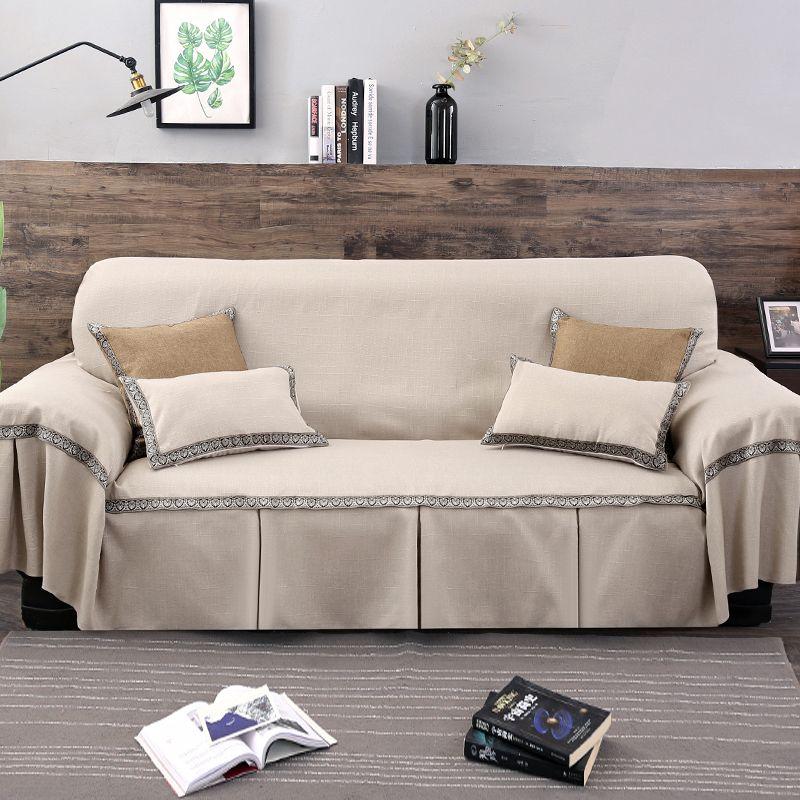 1 pc couleur unie housse de canapé pour salon universel canapé serviette tout compris housse de poussière canapé décoration de la maison canapé ruban