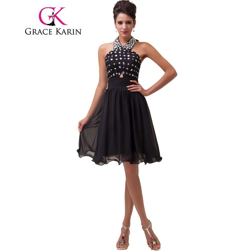 Grace karin short prom dress 2017 negro lentejuelas vestidos de baile cabestro longitud de la rodilla del partido de la gasa vestidos para ocasiones especiales más el tamaño