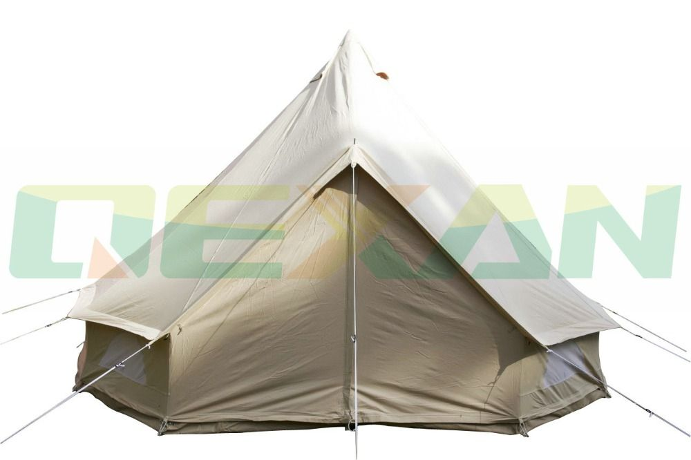 Free Shipping ! Waterproof 4M bell tent cotton yurt tent canvas tipi tent in Stock On sale