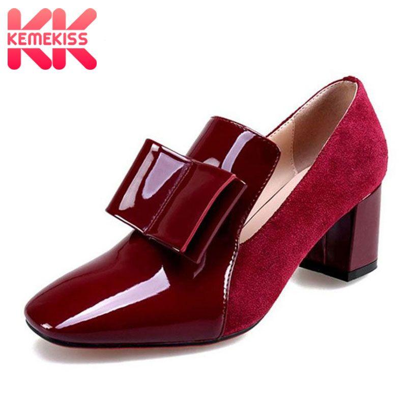 KemeKiss Size 33-43 Vintage Women Genuine Leather High Heel Shoes Women Bowknot Patent Leather Thick Heel Pumps Women Footwear