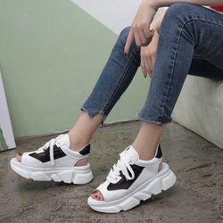 2019 летние женские сандалии в римском стиле на толстой подошве; женские сандалии на платформе; дышащие женские пляжные сандалии из сетчатой ...