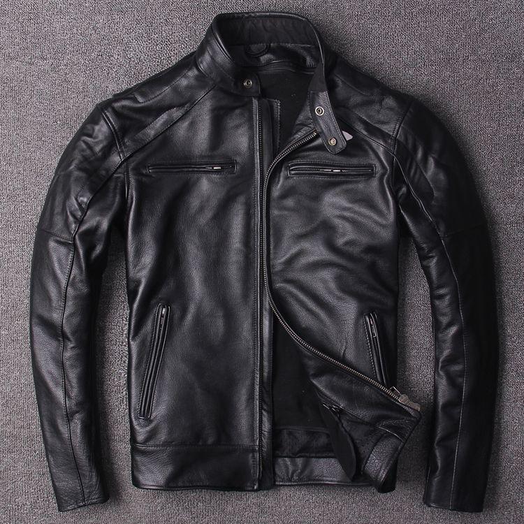 Dhl-freies verschiffen. plus Eur größe klassiker männer kuh leder Jacken männer echte Leder biker jacke. Marke