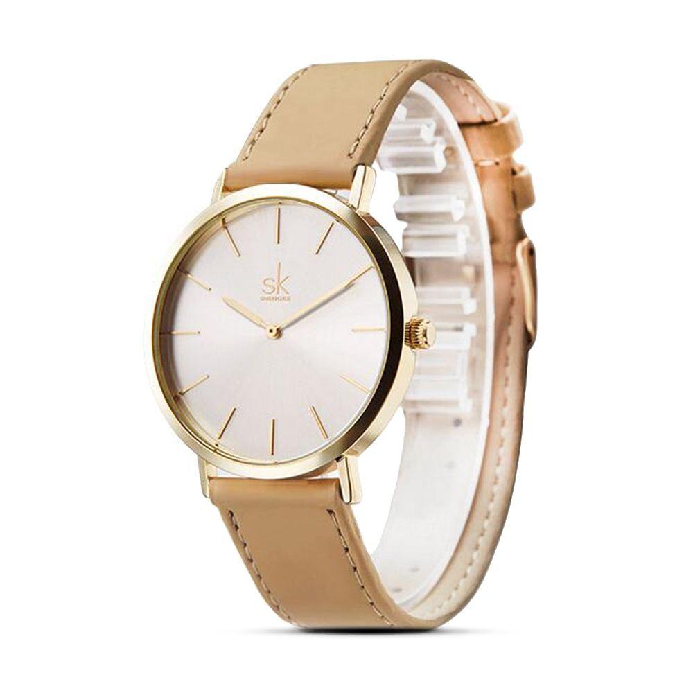 Shengke marque nouvelle mode Simple Style Top célèbre marque de luxe montre à Quartz femmes décontracté montres en cuir Reloj Mujer horloge chaude
