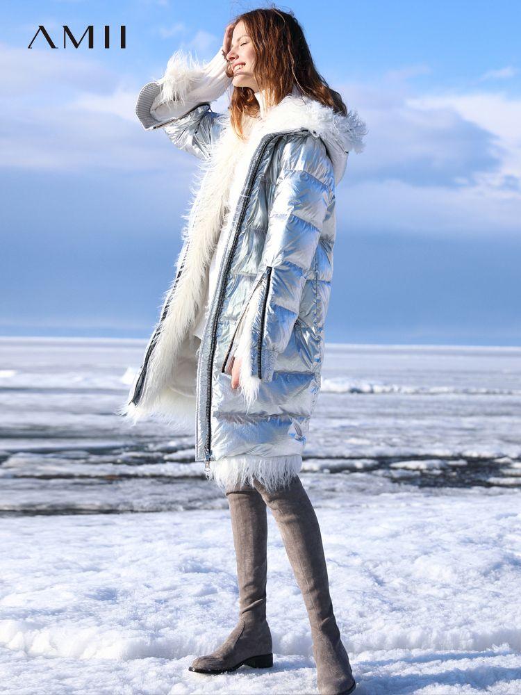 Amii Minimalistischen 90% Weiß Unten Jacke 2018 Winter Zipper Gerade Neue Helle Fell Kapuze Lange Unten Mantel Kühlen Puffer jacke