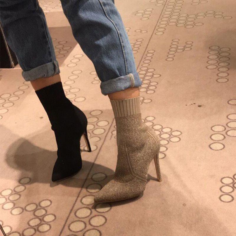 Jookrrix 2018 Neue Socke Stiefel Schuh Dame Boot Reißverschluss Spitz-toe Schuh Knöchel Schwarz Soft Mädchen stiefel Elastizität