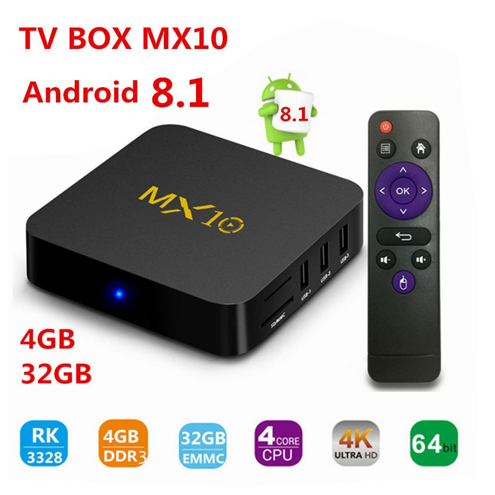 TV BOX,MX10 Android 8.1 TV Box, 4GB(DDR3) 32GB Support 2.4G Wifi Connected 64bit Quad-Core 3D 4K HDR Video Playing TV box