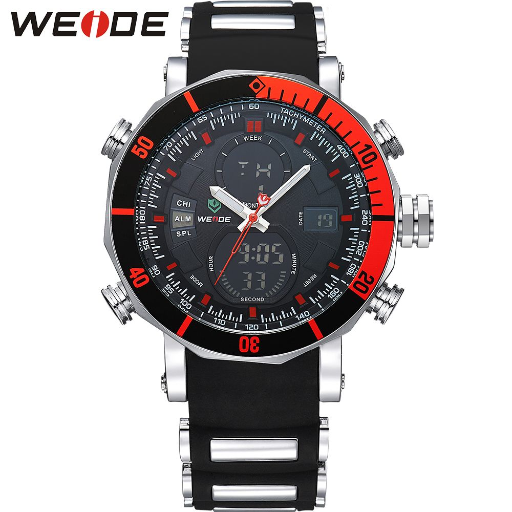WEIDE Stopwatch Analog LCD Dual Time Date Day Display Chronograph Alarm Rubber Band Strap Backlight Men Sport Quartz Wrist Watch