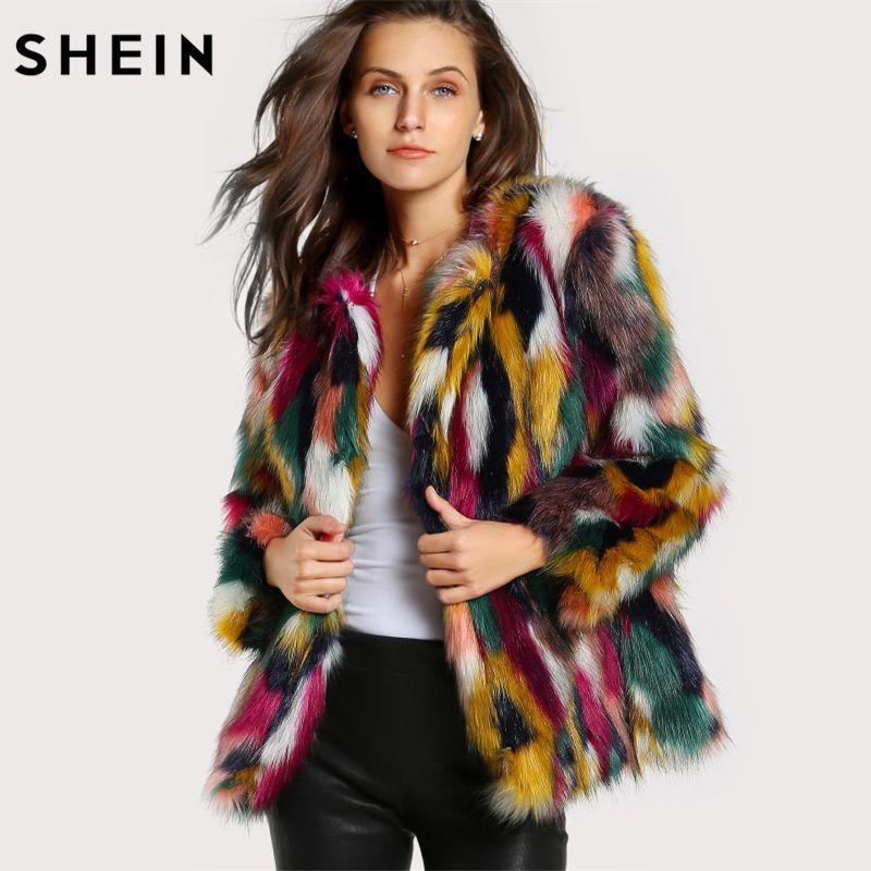 SHEIN Women Elegant Fur Coats Colorful Faux Fur Coat Multicolor Long Sleeve Collarless Casual Woman Winter Fur Coats