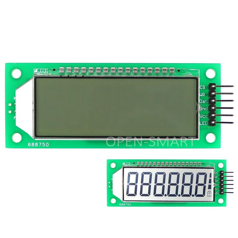 LCD Module 2.4 pouce À Six Chiffres 7 Segments LCD Module D'affichage HT1621 LCD Pilote IC avec Virgule Blanc Rétro-Éclairage pour Arduino