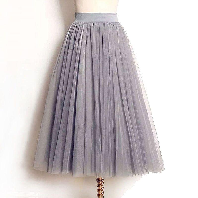 Femmes jupes 2019 nouveau été Vintage élastique taille haute Tulle maille Jupe longue plissée Tutu Jupe femmes Saias Midi Faldas Jupe