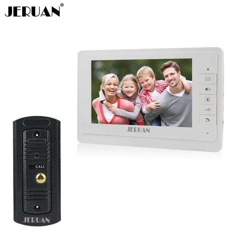 JERUAN 7`` video intercom video doorphone speakerphone intercom system white monitor outdoor with waterproof & IR camera