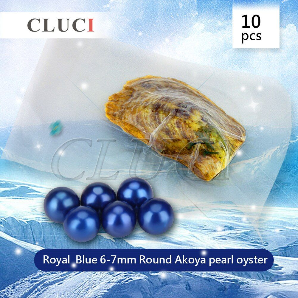 CLUCI Royal Blue 10PCS Real Natural Saltwater Pearl in Oysters, 6-7mm Dyed Pearls And Vacuum-Packing Charm Gift For Women