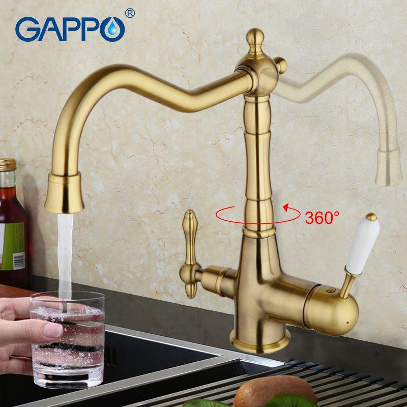 GAPPO kitchen faucet antique bronze kitchen sink mixer tap Crane torneira cozinha water kitchen faucet kitchen water taps