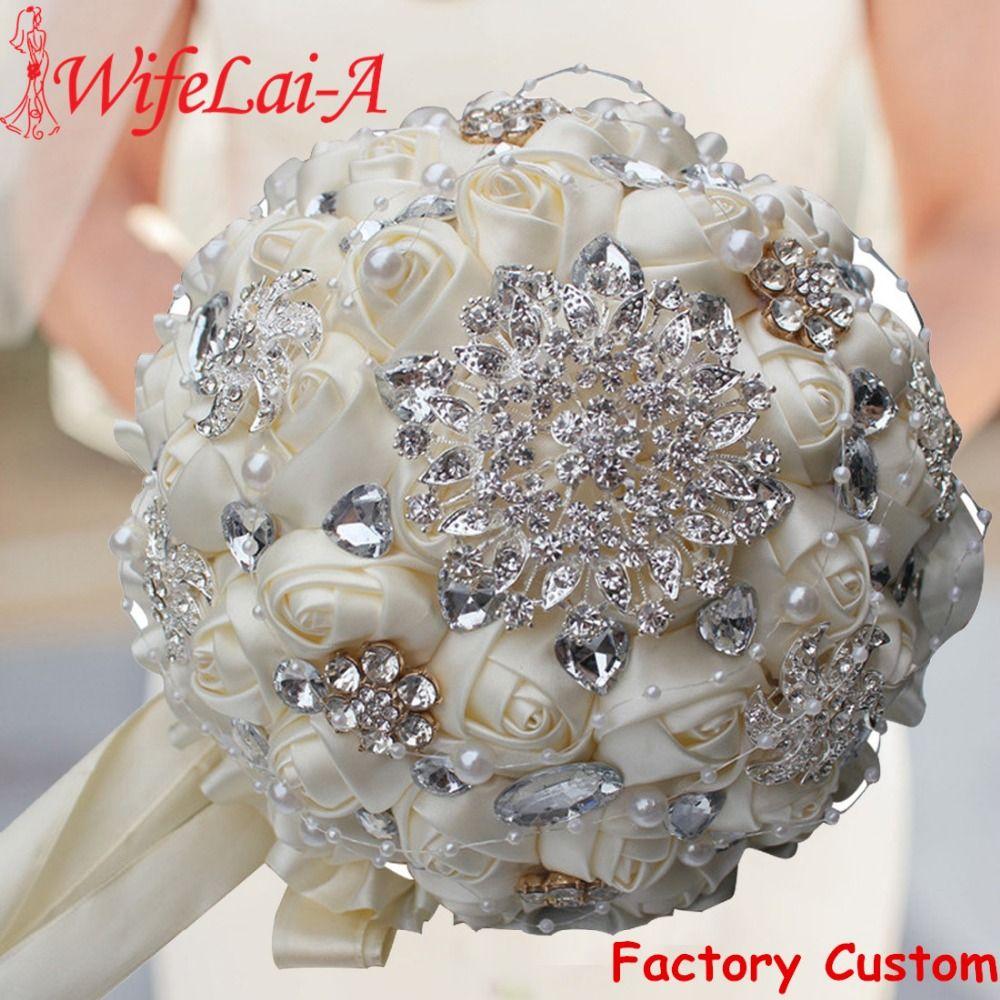 La meilleure Vente D'ivoire Crème Broche Bouquet De Mariage Bouquet de mariage Polyester De Mariage Bouquets Perle Fleurs buque de noiva PL001