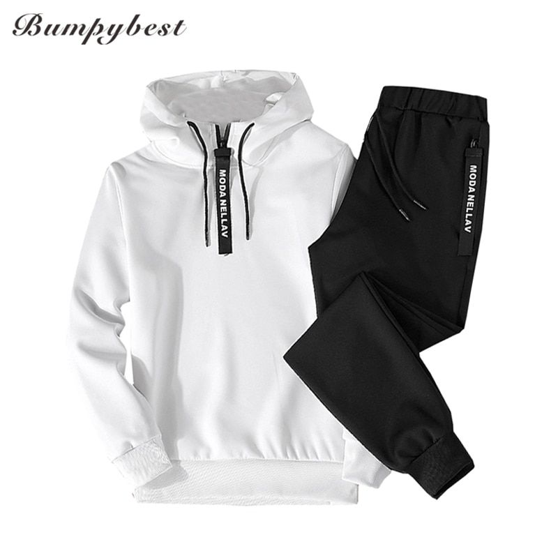 Spring 2018 new Men Tracksuit Two Piece Sets Pullover Sweatshirts + Pants Sportwear Male Suit Sweatshirts Asian size M-5XL