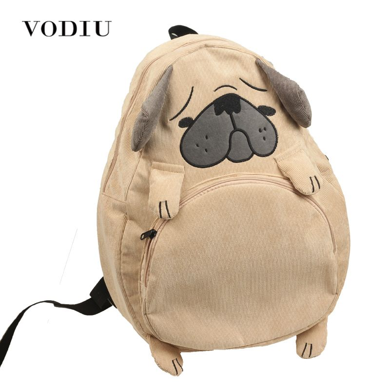 Women Backpack Schoolbag Canvas Cute Dog Fox Ear Embroidery Corduroy Backpack Female <font><b>Vintage</b></font> Notebook Backpack For Girls School