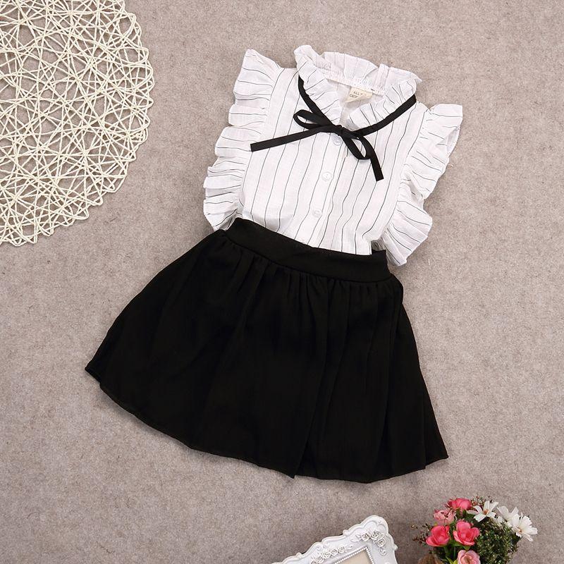 2016 été mousseline de soie arc princesse chemises blouse + jupes 2 pièces bébé fille vêtements ensembles conjuntos infantis 3 ~ 8age enfants jupe costume
