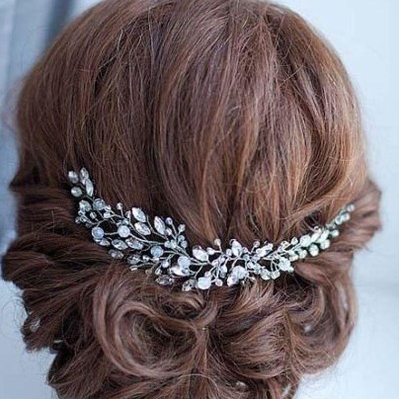 Handmade Beads Crystal Bridal Hair Flower Rhinestone Hair Jewelry Prom Headdress Headpieces Women Girls Wedding Hair Accessories