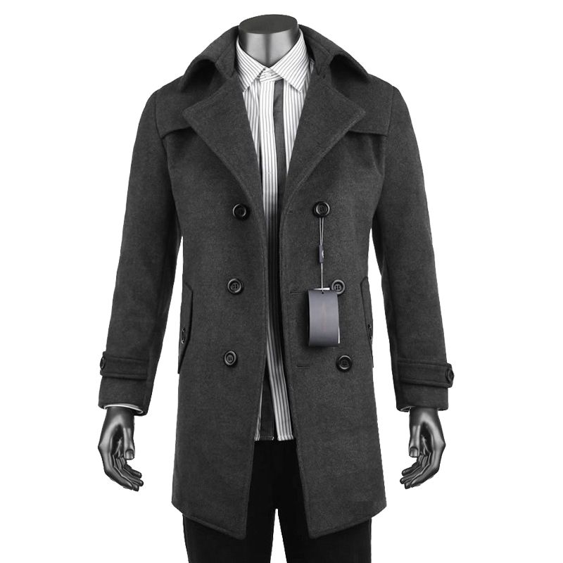 New 2017 Woolen jacket and coat men Casual windbreaker fashion solid long Double-breasted gray coats plus size S-XXXL