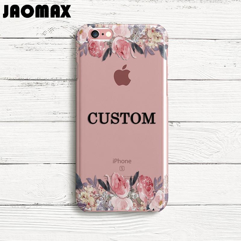 Jaomax DIY Custom Name Flower Cover Case For iPhone 8 6 6S 6 Plus 5 5S SE 7 7Plus X Transparent Silicone Soft Design Phone Cases