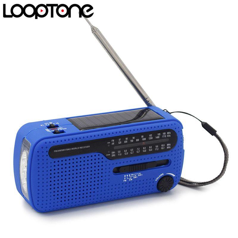 LoopTone FM/AM/SW Récepteur Portable Stéréo Radio Pour Extérieure D'urgence Démarrage Dynamo/Solar Power LED lampe de Poche téléphone Chargeur