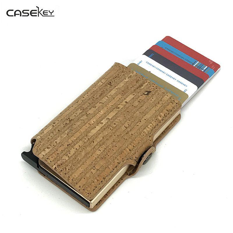 Casekey 2017 Дизайн древесины полосатые решетки rfid кредитной карты Pakage Бизнес держатель карты Дело коробка из искусственной кожи кошелек