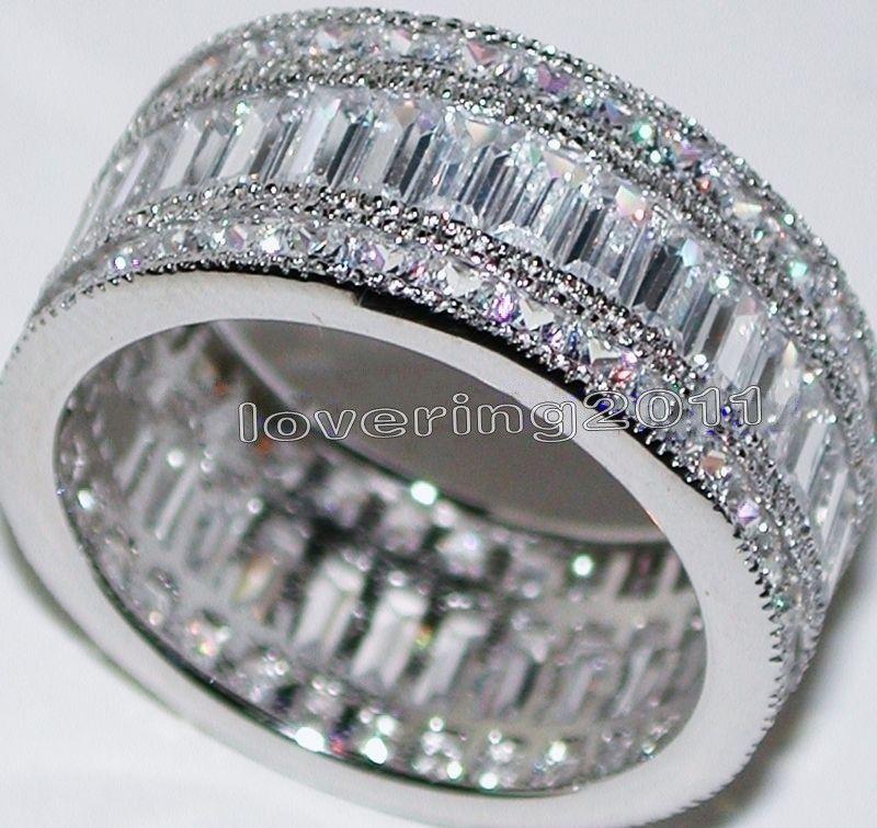 choucong Full Princess cut Stone 5A Zircon stone 10KT White Gold Filled Engagement Wedding Band Ring Set Sz 5-11 Gift