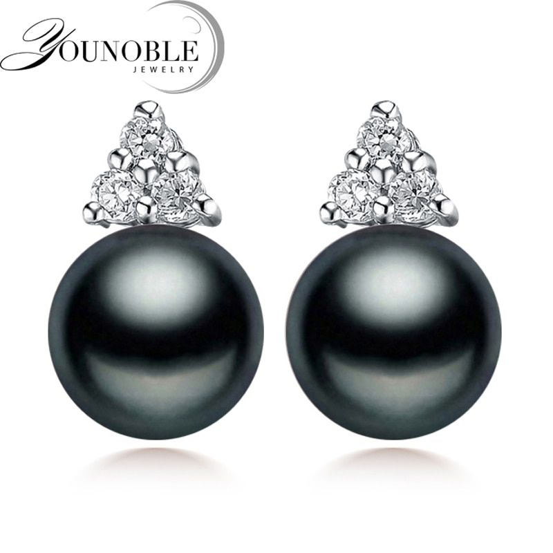 100% genuino negro perla pendientes para las mujeres de agua dulce perla pendiente de plata, joyería hermosa pendientes regalo de cumpleaños
