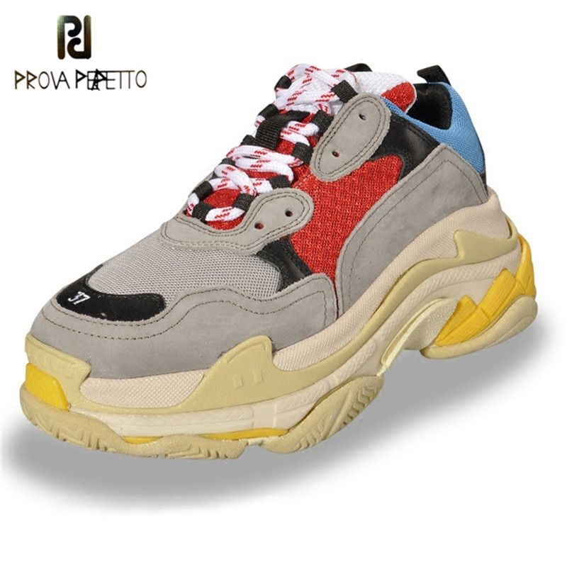 Prova Perfetto 2018 Sneakers Women Spell Color Platform Shoes Breathable Walking Shoe Laces Casual Loves Shoes Large Size Shoes