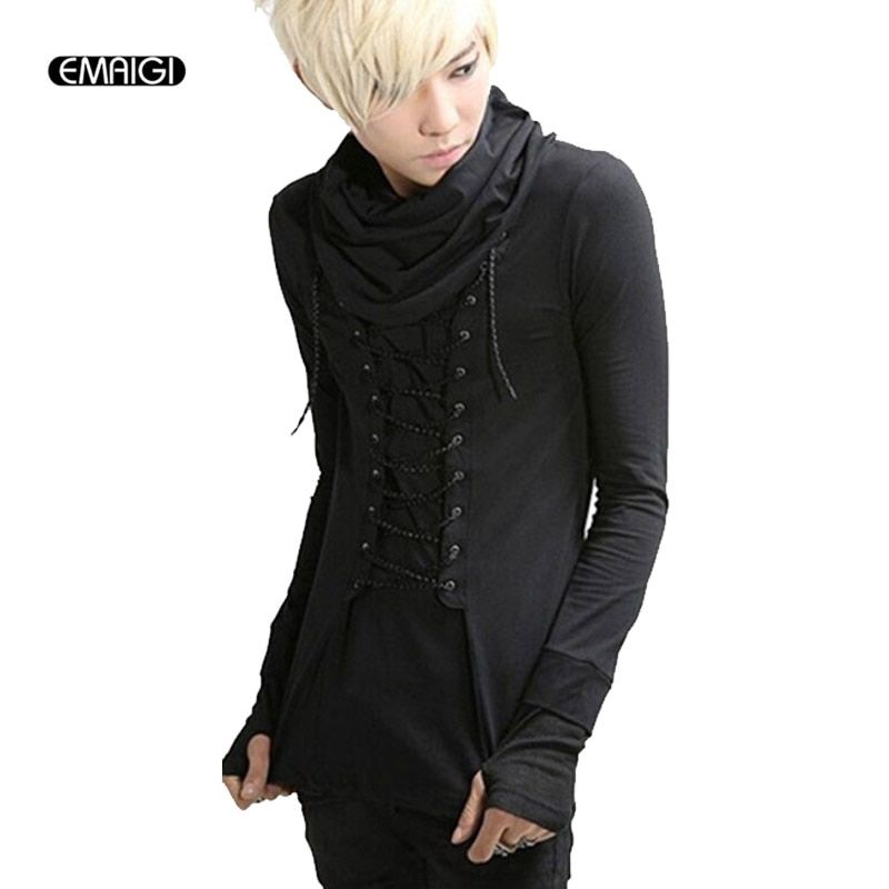 Men fashion casual long sleeve gloves T-shirt male turtleneck slim fit tee shirt punk gothic costume clothing