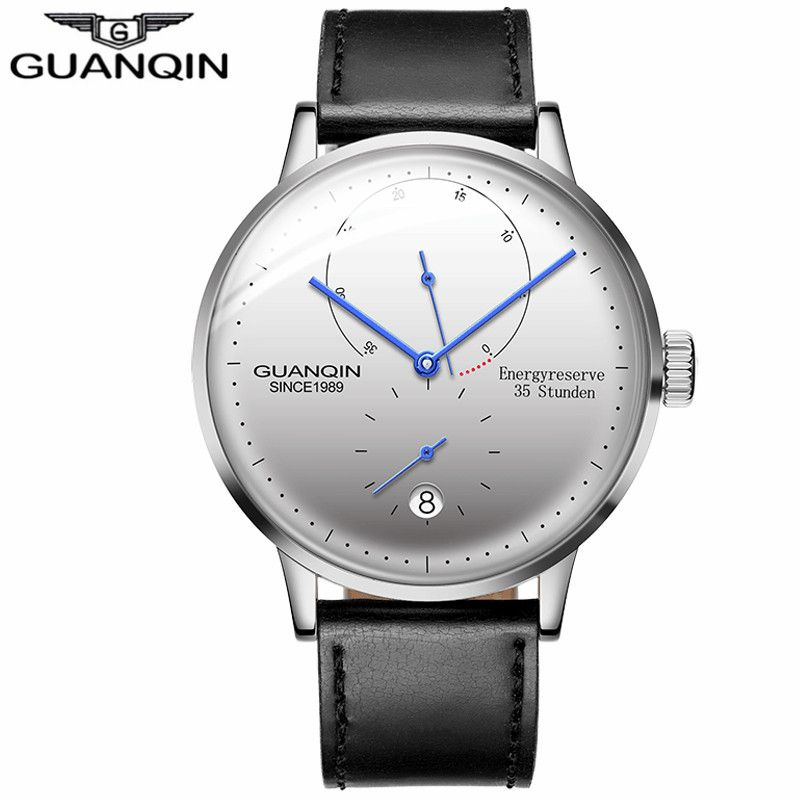 2018 GUANQIN mens watches top brand luxury Automatic Mechanical Watch Casual leather sapphire waterproof Analog Wristwatch Men