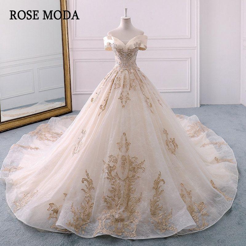 Rose Moda Royal Spitze Hochzeit Kleid 2019 Lange Zug Weg Von der Schulter Prinzessin Champagner Kirche Hochzeit Kleider Ballkleid