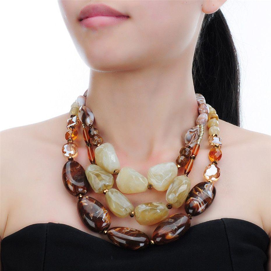 4 couleurs résine cristal Boho Style ethnique fait à la main corde chaîne déclaration pendentif collier Multi couches collier bijoux femme