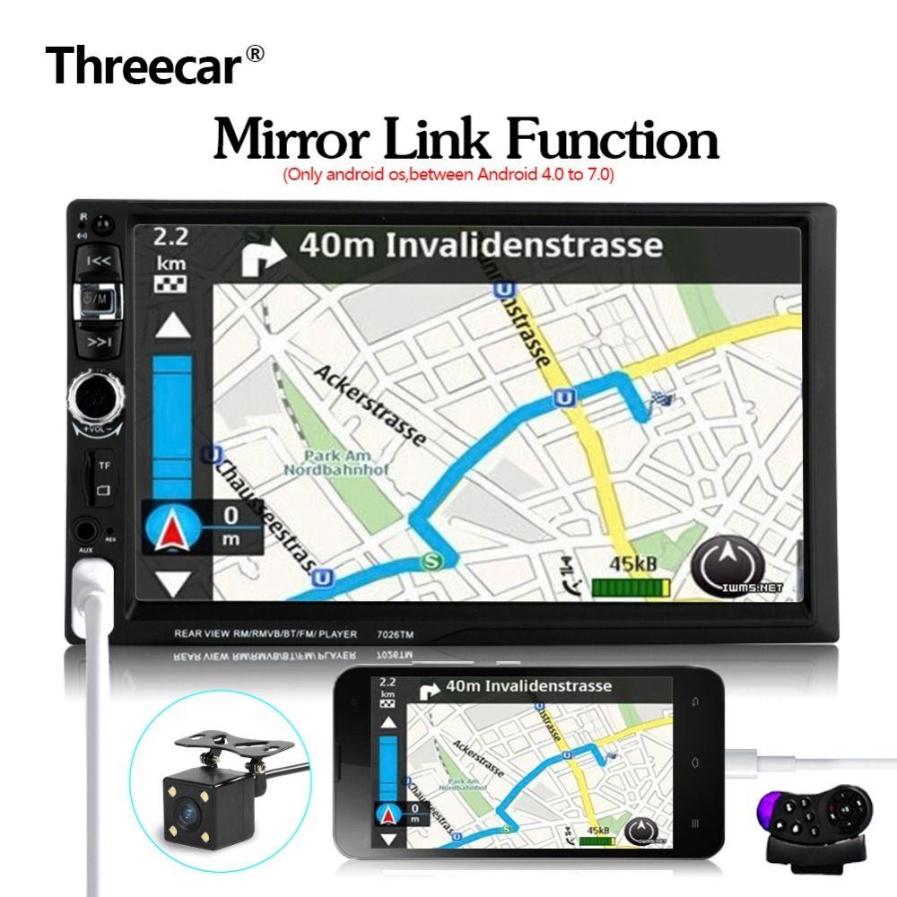 Android 2 Din Spiegel Link 7 ''Bluetooth Auto Radio Lenkrad mit Rückfahrkamera 12 sprachen Mp5 Mp4 USB TF FM Stereo