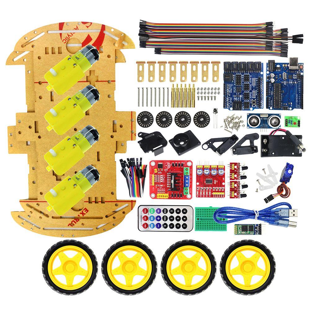 Multifonction Bluetooth Contrôlée Robot Intelligent Kits Auto Tonnes de Publié livraison Codes 4WD UNO R3 Starter Kit pour arduino Diy Kit