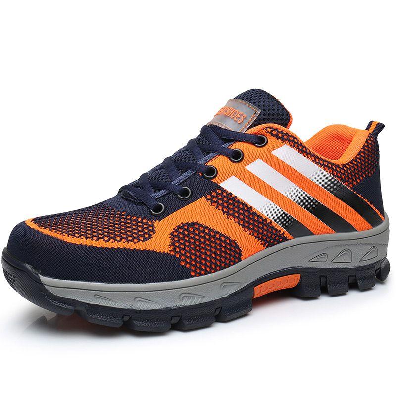 Наивысшего качества большие размеры для мужчин дышащая сетка Безопасная рабочая женская летняя обувь со стальными носками Нескользящие са...