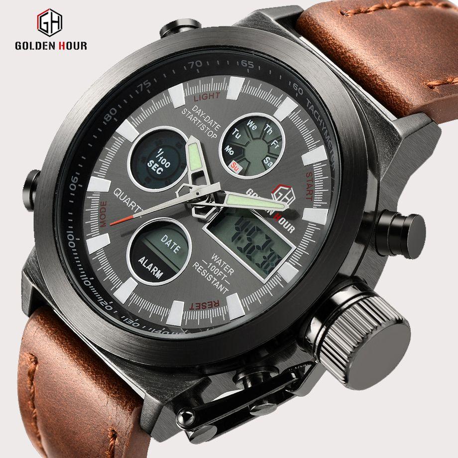 Top marque de luxe hommes natation Quartz analogique Sports de plein air montres militaire mâle horloge montre à affichage LED Relogio Masculino cadeau
