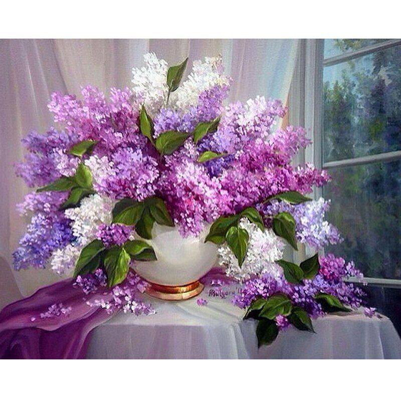 Motifs strass lilas fleurs 5d bricolage diamant peinture Mazayka diamant broderie 3D rond mosaïque photos nouveau passe-temps
