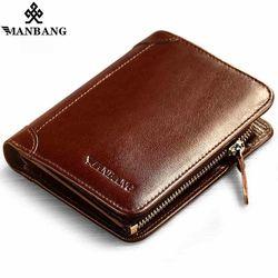 ManBang corto de tiempo limitado sólido caliente de alta calidad de cuero genuino hombres carteras billetera monedero del organizador monedero