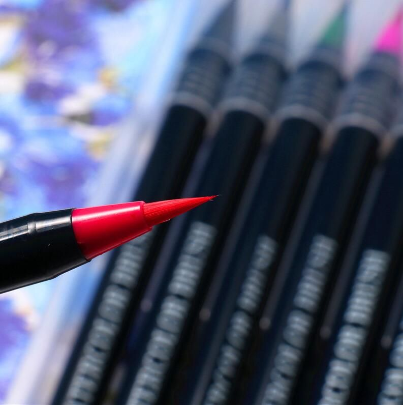 20 Color Premium Painting Soft Brush Pen Set Watercolor Markers Pen Effect Best For Coloring Books Student Art Painting Supplies