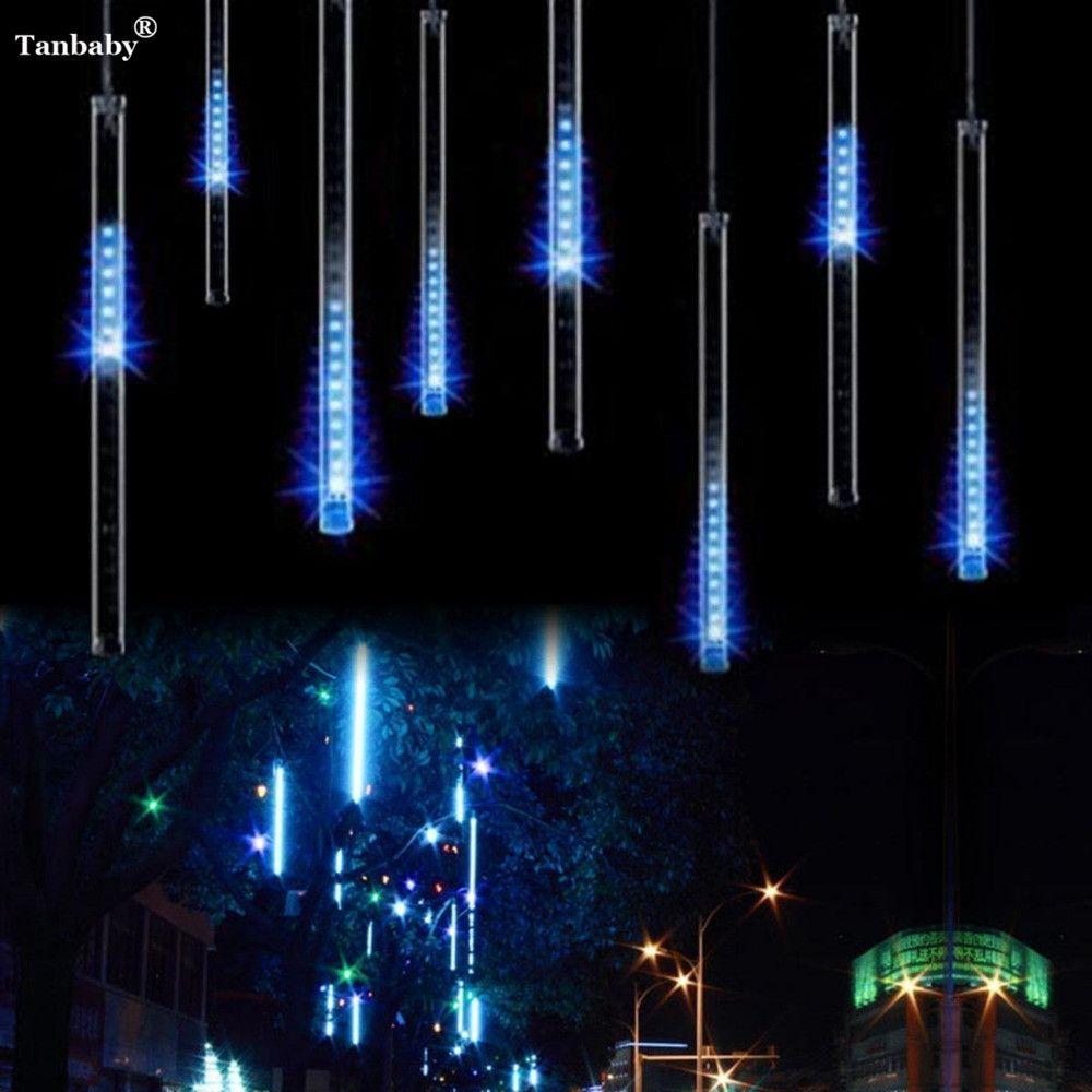 Imperméable à l'eau 30 CM 8 Tube météore douche pluie lumière LED Tubes arbre de noël fée LED lumière de chaîne pour jardins partie décor arbre