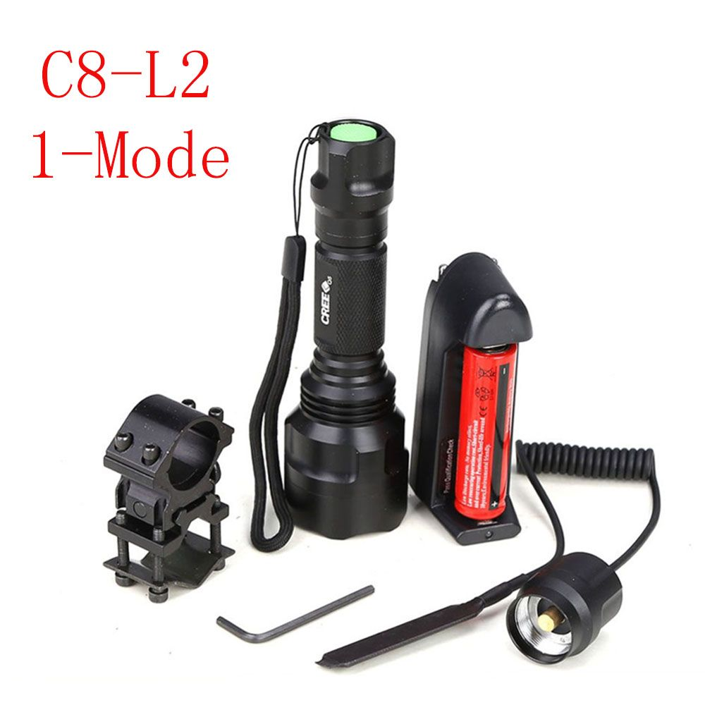 Chasse lumière C8 Tactique lampe de poche XM-L L2 led 1-mode torche + 18650 batterie + Chargeur + Pression Commutateur Rifle Mont pistolet Lumière Lampe