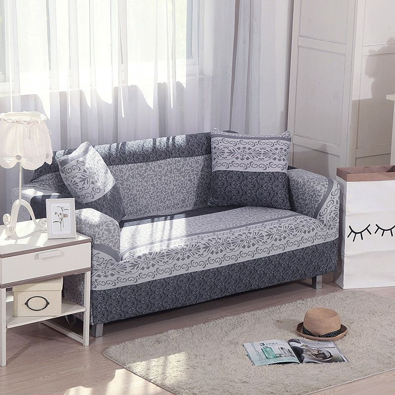Floral Soild Color Printing Spandex Stretch Slipcovers Sofa Cover Elastic All-inclusive Couch Case Cover for Living Room