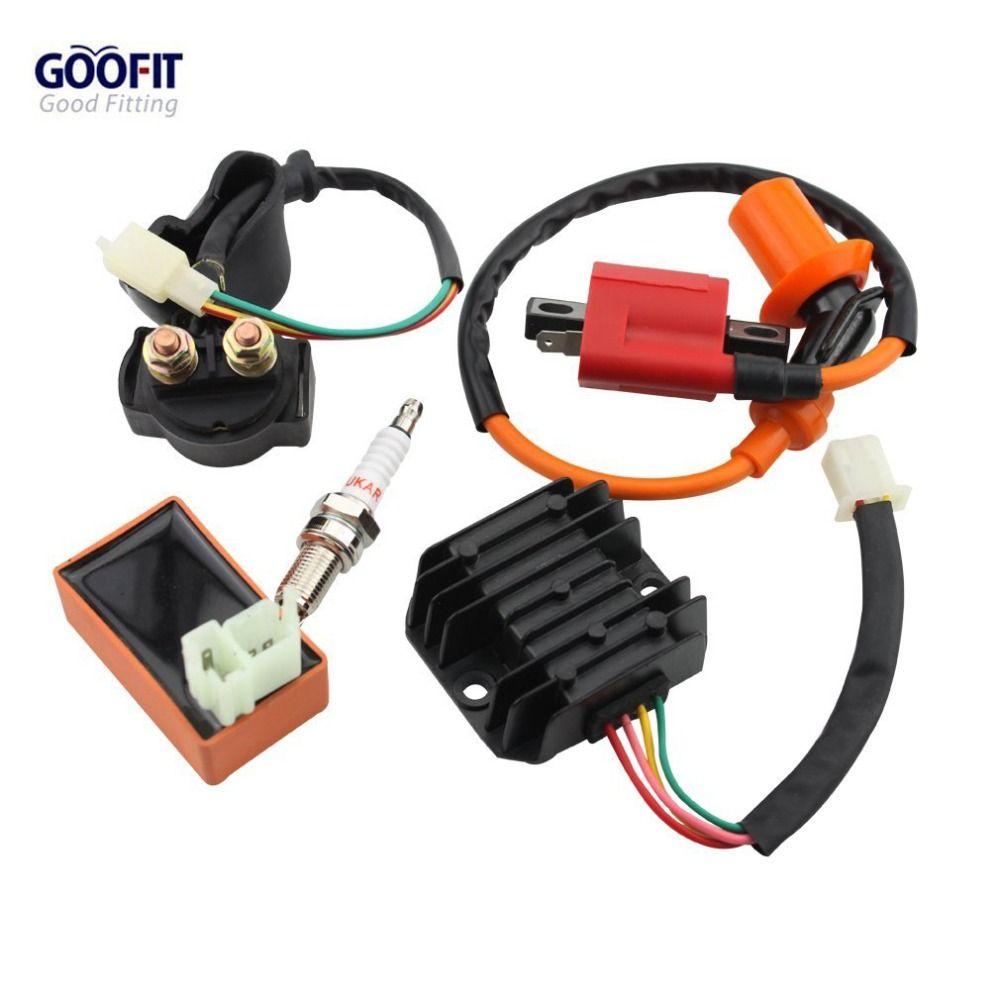 GOOFIT Racing Ignition Coil CDI Spark Plug Regulator Rectifier Relay CG 50cc - 125cc 150cc-250cc ATV Quad Go Kart Moped Scooter