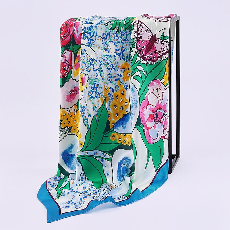 Square Silk Scarf Women 90*90 2017 Butterfly and Floral Print 100% Pure Silk Scarves & Wraps Shawl Bandana Hijab Foulard