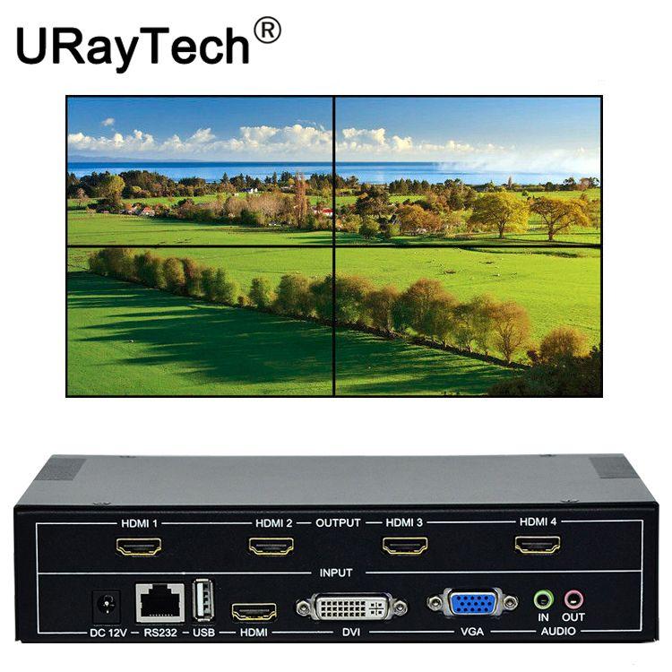 4 kanäle TV Wand Controller 2x2 1x3 1x2 HDMI DVI VGA USB Video Prozessor TV Spleißen Box Mit RS232 Control