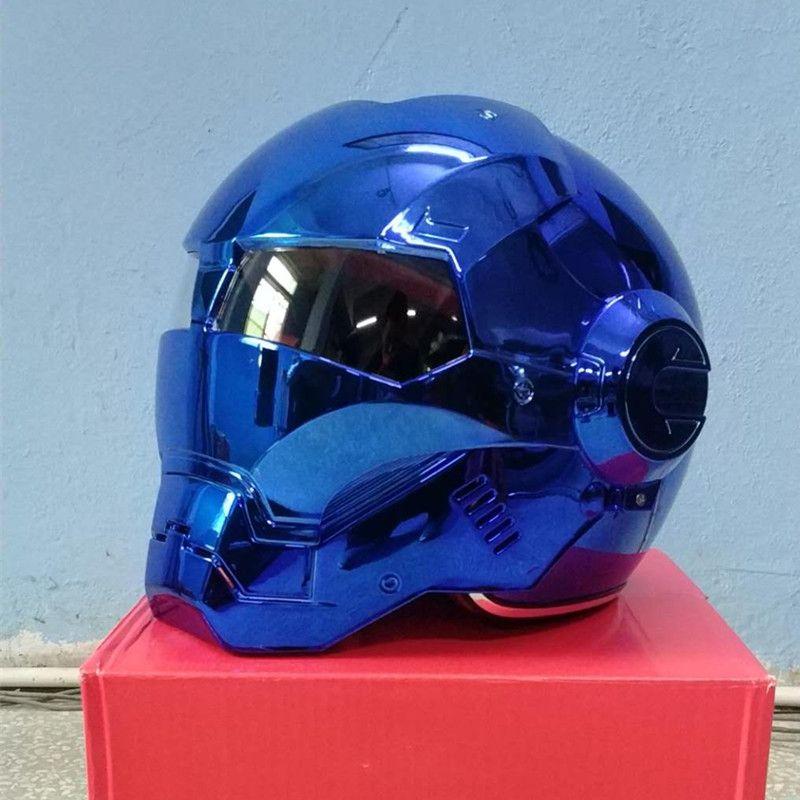 Masei bike scooter moto electroplate blue iron man helmet motorcycle helmet half helmet open face helmet casque motocross