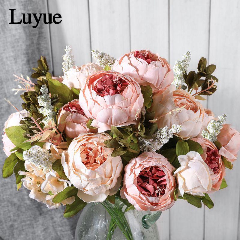 Luyue fleurs artificielles mariage Vintage européen pivoine couronne soie faux fleurs têtes maison Festival décoration 13 Branches maison
