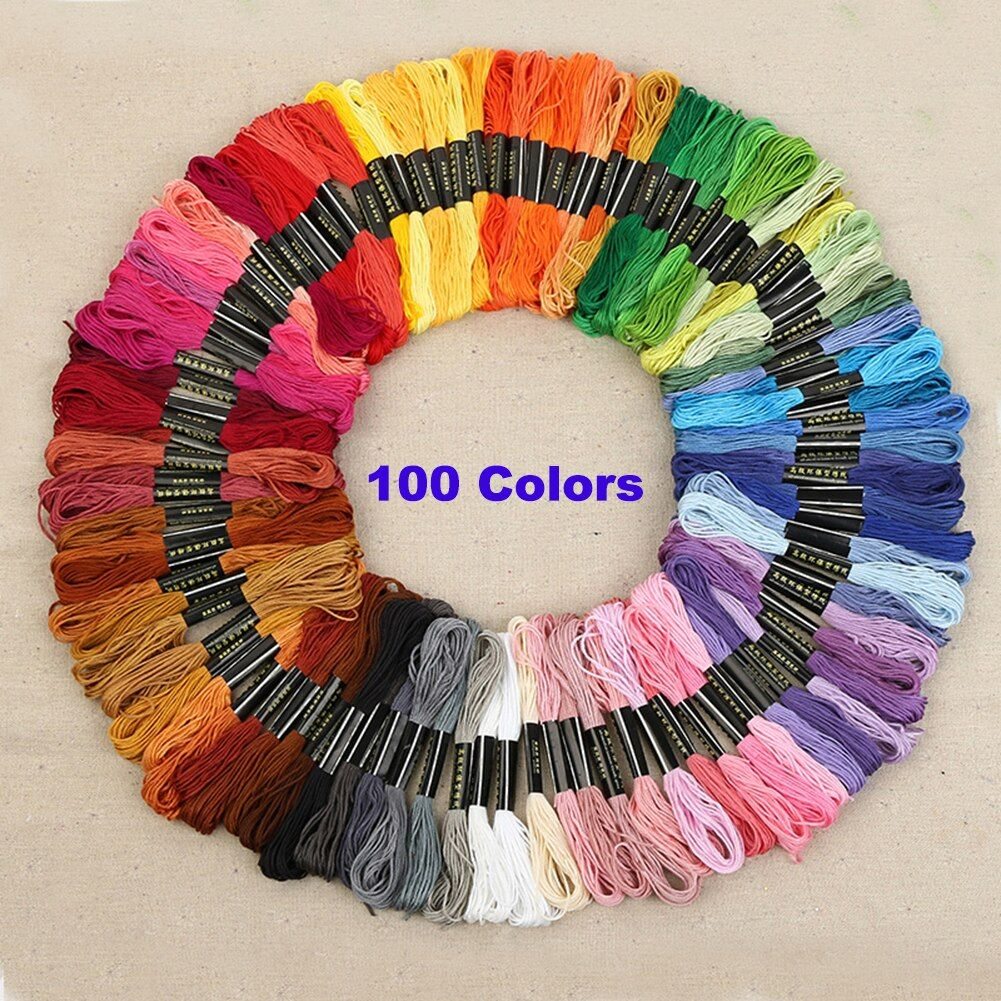 100 Colors Embroidery Threads for Cross Stitch Hand Floss String Sewing Skeins Polyester Sewing Thread Knitting Tools