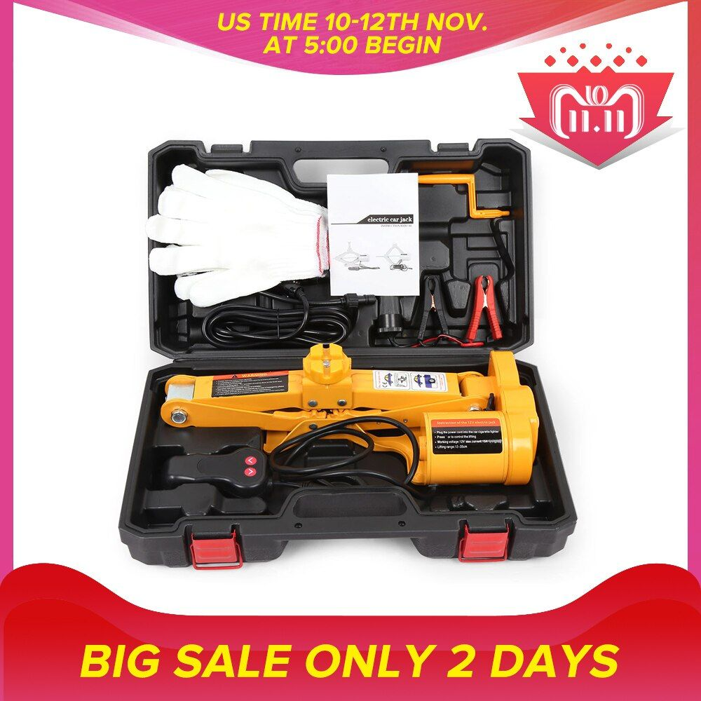12V One Key Operation Garage Tools For Tire Auto Electric Hydraulic Jack Car Lift Tire Repair Tool Max 350mm Lift Height